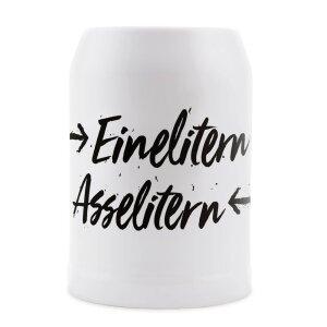 Du Hirsch - Bayerischer Onlineshop - Gschichtn - Bayerische Bierkrüge - Einelitern Asselitern
